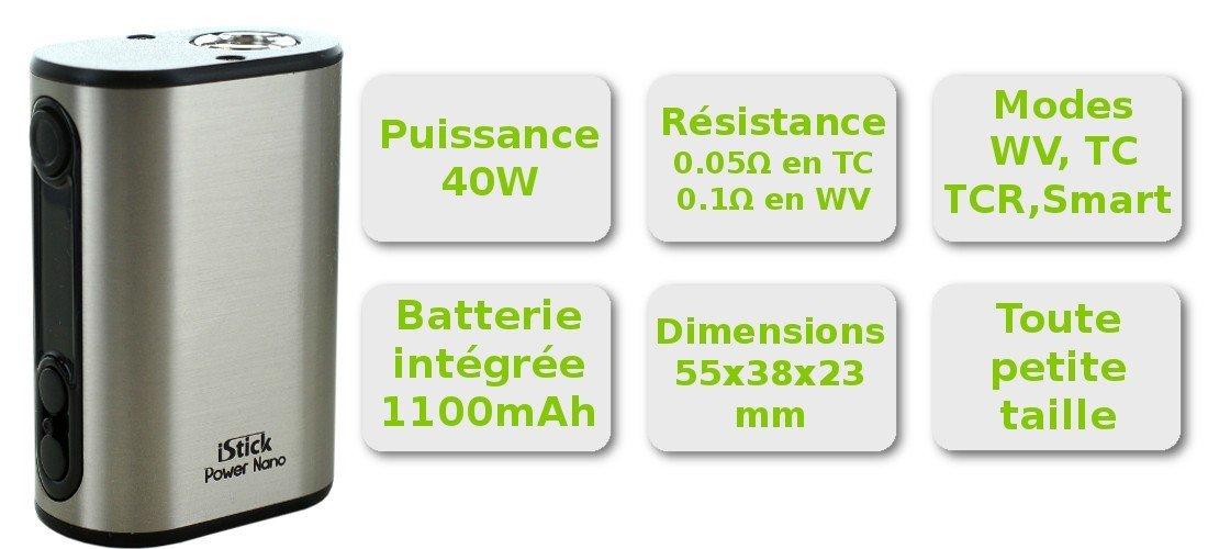 Caractèristiques iStick Power Nano