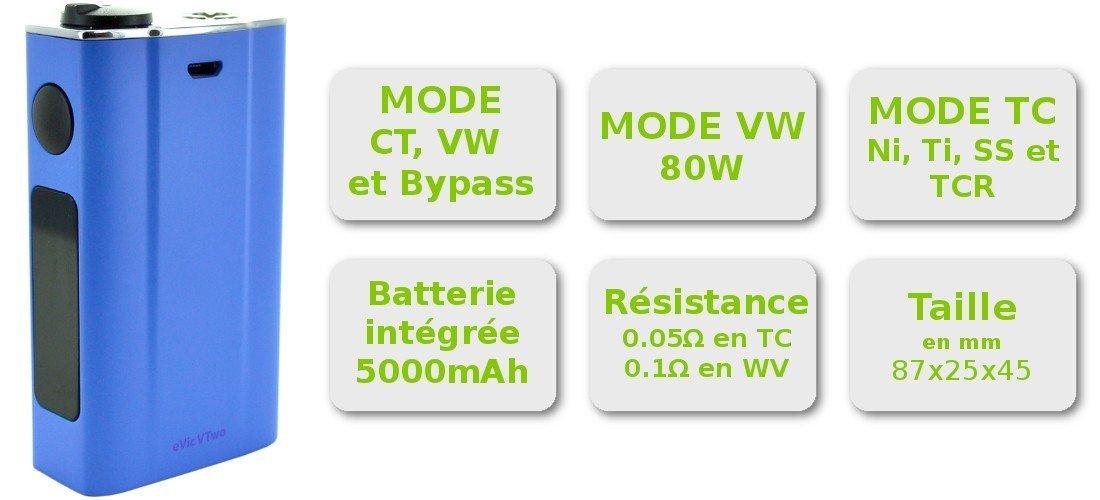 Caractéristiques de la box électronique Joyetech eVic VTwo 80W