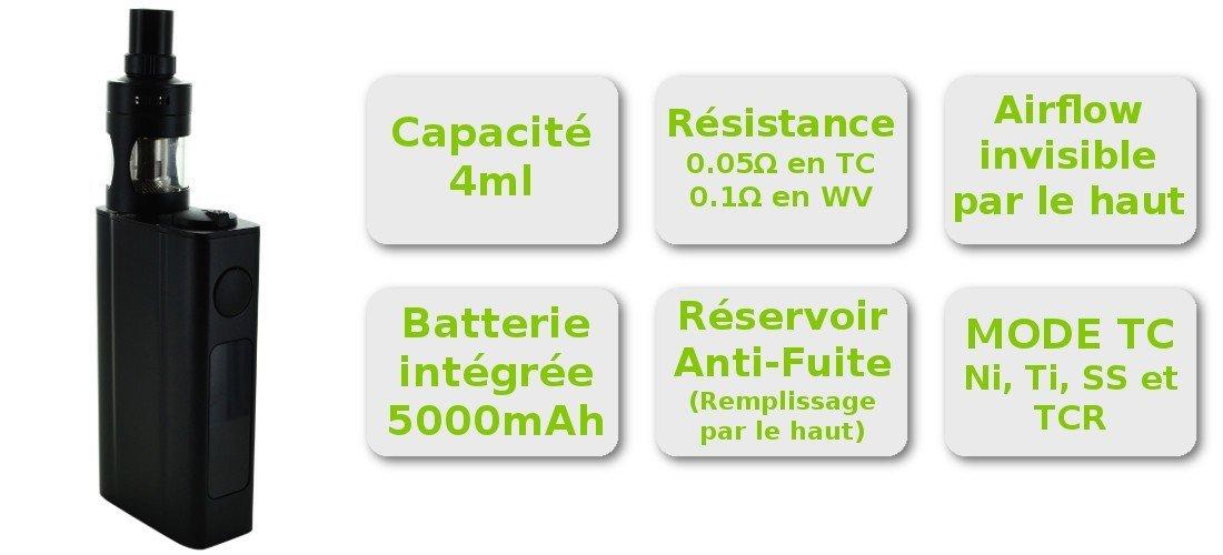 Caractéristique du kit cigarette électronique complet eVic TWo par Joyetech et clearomiseur Cubis Pro Joyetech