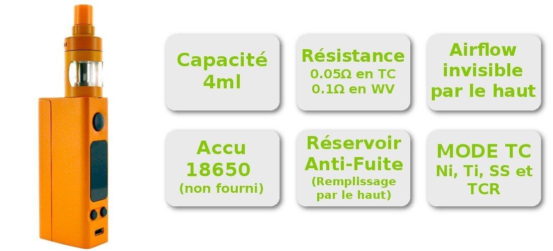 Caractéristique du kit cigarette électronique complet eVic TWo Mini Joyetech et clearomiseur Cubis Pro Joyetech