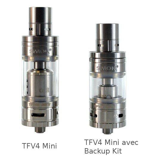 TFV4 Mini Smoktech et TFV4 Mini avec Backup Kit Smok